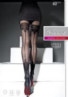 Mock Holdup Patterned Seamed Tights